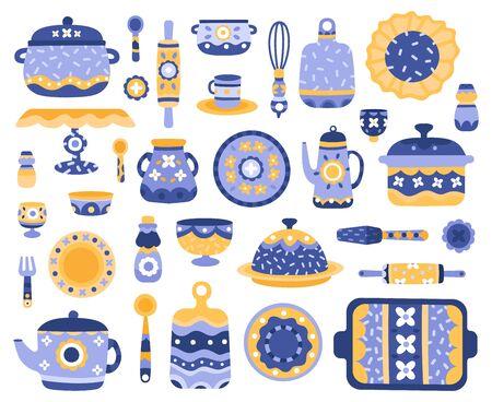 Cartoon ceramic crockery. Kitchen cookware, porcelain tableware, dishes, teapot, serving crockery vector illustration icons set. Porcelain crockery, cookware ceramic, kitchen dishware