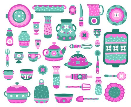 Cartoon kitchen dishes. Ceramic crockery, dishes, teapot, cups and plates, porcelain ceramic tableware vector illustration icons set. Kitchenware and dinnerware, pitcher sculpting, mug and teapot