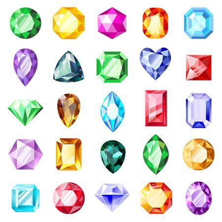 Jewel gemstones. Jewelry crystal gems, diamond jewel precious gemstone, luxury brilliant gems. Crystal jewels vector illustration icons set. Crystal gemstone, jewelry brilliant collection