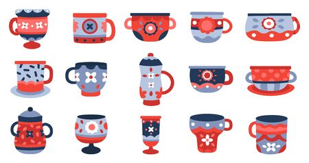 Ceramic cups. Kitchen porcelain cup, crockery ceramics mug, tableware colorful cup collection isolated vector illustration icons set. Earthenware and faience, handmade vintage crockery