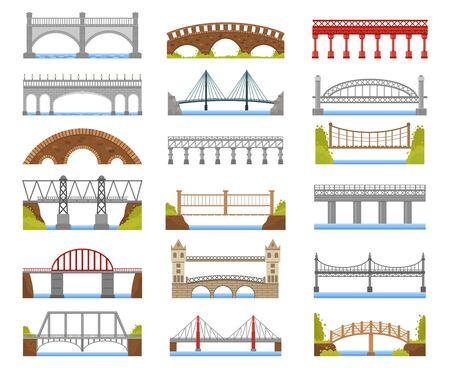 Architecture bridge. Urban river bridge building, arch, cable-stayed, beam and suspension bridges isolated vector illustration set. Bridge arch building, architecture construction collection Illustration