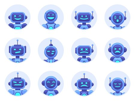 Chat bot avatars. Robotic digital assistant avatar, computer online assistance bot, virtual machine help bots vector illustration icons set. Cyber support, service virtual bot, chat robot Illustration