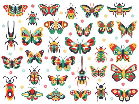 Hand drawn cute insects. Doodle flying butterfly and beetle, colorful spring insects. Drawing butterflies and bugs vector illustration icons set. Insect fauna colorful, wildlife spring animal