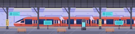 Subway station. Metro station platform, empty subway underground interior, modern metropolitan public railway vector background illustration. Empty platform, interior public station railway