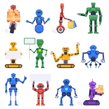 Futuristic robots. Robotics android bot, mechanical humanoid robot characters, robotic mascot assistant, isolated vector illustration icons set. Robotic humanoid, futuristic machine cyborg Illustration