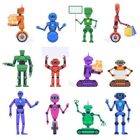 Robot characters. Robotic mechanical humanoid characters, chatbot assistant mascots, technology android bot isolated vector illustration set. Robot humanoid, futuristic mechanical cyborg