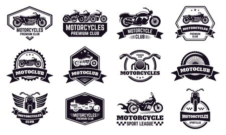 Motorbike badges. Retro motorcycle bike club emblems, racing and motorbike custom stamp, motorcycle rider emblems vector illustration icons set. Motorcycle racer badge, motorbike league
