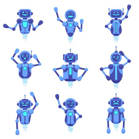 Chat bot assistance. Robotics technology chat bots, robotic digital assistant, futuristic android chat bots characters, vector illustration set. Robot and cyber, support service virtual, mobile ai