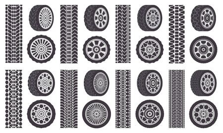 Car wheel tires. Track traces, automobile wheel rims, auto vehicle tread tracks. Rubber wheel tires isolated symbols illustration set. Rubber silhouette tyre, speed transport print