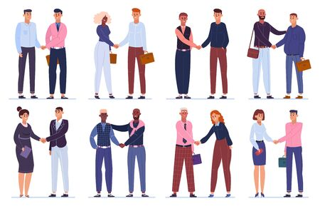 Business hands shaking. Office workers shake hands, businessmen agreement or deal complete, greeting handshake vector illustration set. Business meeting team, success professional corporate