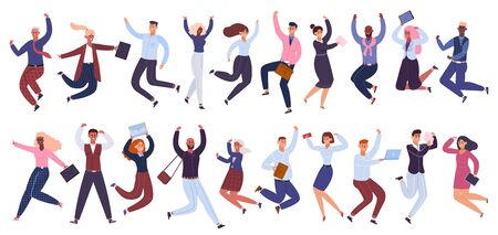 Jumping business people. Happy businessman, office workers jumped together, success celebration colleagues isolated vector illustration set. Businessman cartoon jumping together employee