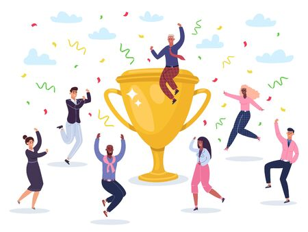 Success celebrating team. Jumping winners team celebrating victory, golden cup wins award, happy successful business team vector illustration. Jumping team and golden cup, leadership achievement