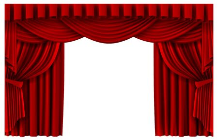 Red stage curtain. Realistic theater scene backdrop, cinema premiere portiere drapes, ruddy ceremony curtains vector template illustration. Red curtain to show premiere, stage realistic entrance