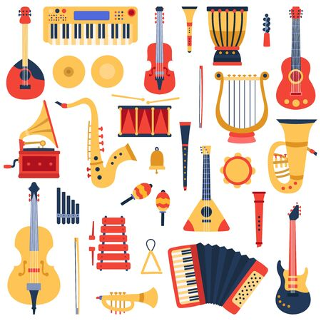 Music instruments. Musical classical instruments, guitars, saxophone, drum and violin, jazz band music instruments vector illustration icons set. Drum and trumpet, tambourine and sound classic