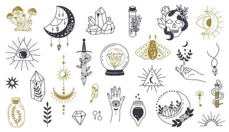 Magic doodle symbol. Witch hand drawn magic element, doodle witchcraft crystal, skull, knife, mystery tattoo sketch vector illustration icons set. Magic and witchcraft, witch esoteric alchemy Illustration