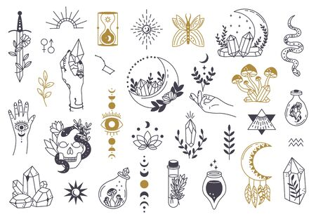 Witch magic symbols. Doodle esoteric, boho mystical hand drawn elements, magic witchcraft crystal, eyes, moon vector illustration icons set. Tattoo alchemy and esoteric, witchcraft magician