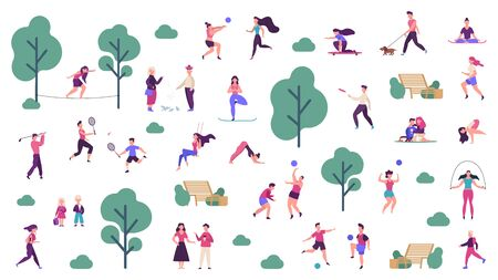 Active outdoor lifestyle. People healthy lifestyle and park sport activities, outdoor games, jogging and running vector illustration icons set. Outdoor boy training, skateboarding and playing