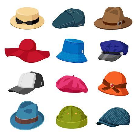 Headwear hats. Men and women elegant headwear, modern and retro caps, stylish hats and caps, fashion accessories vector illustration icons set. Cap and headdress, stylish headgear various Vektorgrafik