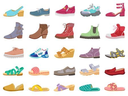 Boots and shoes. Modern elegant female, male and childrens footwear, sneakers, sandals, boots for winter and spring vector illustration icons set. Sneakers and boots, model, childrens slippers