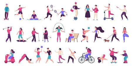 People outdoor activities. Active, healthy lifestyle, jogging, running, roller skates, bicycle and rollerblading vector illustration icons set. People activity outdoor, yoga volleyball and golf Ilustracja