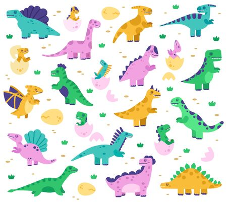 Hand drawn dinosaurs. Cute dino baby in eggs, jurassic era dinosaur characters, diplodocus and tyrannosaurus vector isolated illustration set. Diplodocus and dinosaur reptile colored for kids