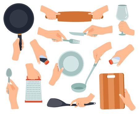 Hand hold kitchenware. Cooking items in female hands, frying pan, stainless fork, knife, hands holding kitchen utensils vector illustration set. Knife and fork, pan and utensil cook 向量圖像