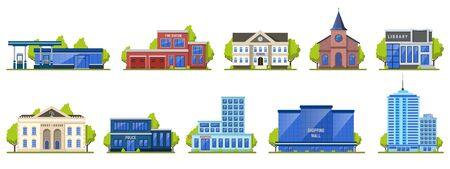 Modern city building. Public contemporary shopping center exterior, school facade, hotel and fire station vector illustration icons. Contemporary structure town, library municipal illustration
