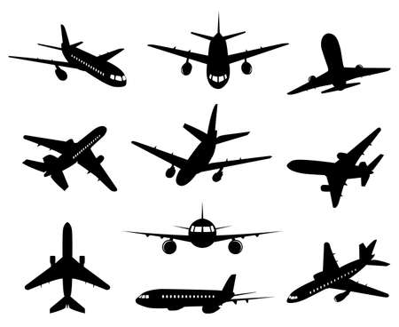 Airplane silhouette. Passenger plane, back front and bottom views, aircraft jet silhouettes isolated vector illustration icons set. Jet monochrome, plane and airplane, commercial passenger flight