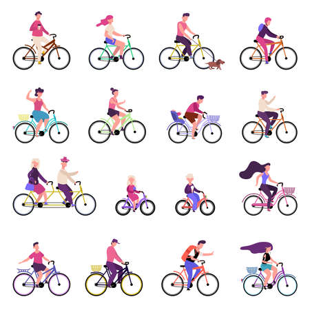 People riding bikes. Outdoor activities, group of people riding bicycles, bike riding, active family healthy lifestyle vector illustration set. Bicycle and bike ride, man woman outdoor active