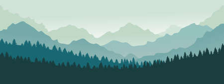 Mountains panorama. Forest mountain range landscape, blue mountains n twilight, camping nature landscape silhouette vector illustration. Forest range landscape, panorama silhouette hill