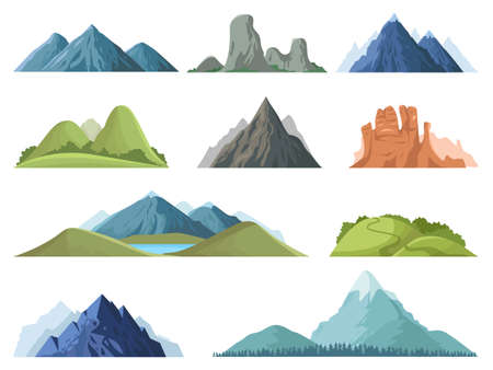 Rocky mountains. Mountain tops outdoor landscape, winter peaks, hilltop with trees, hiking mountain valley landscape vector illustration set. Range rock, mountain rocky environment top