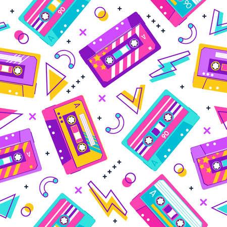 Retro cassette pattern. Seamless vintage memphis 90s party pattern, music audio cassette, analogue 80s stereo audiocassette vector background. Cassette seamless melody analogue casette illustration