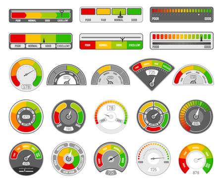 Speedometer indicator level. Quality rating indication, goods grade tachometer indicators, satisfaction score indicators vector icons set. Illustration bar indicate, minimum medium and max