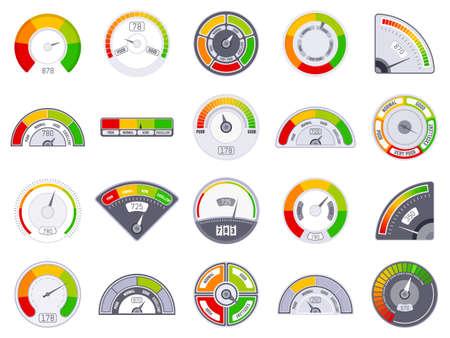Speedometer score level. Good and low rating indication, goods speedometer level, satisfaction score tachometer indicators vector icons set. Score level measure, rating customer gauge illustration Vettoriali