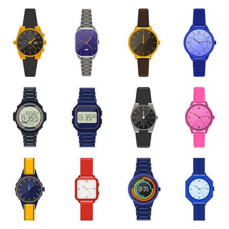 Wrist watches. Classic female male watches, digital smartwatch, fashion unisex chronograph, modern men wrist clock vector illustration icons set. Fashion clock wristwatch accessory, modern and classic Vector Illustratie