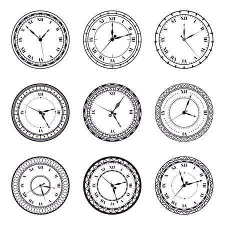 Ancient watch face. Vintage antique watches, antic 12 hours round clock, roman numerals timer clock vector illustration symbols set. Time watch wall with roman numbers