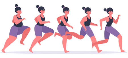 Girl losing weight. Running woman in process of weight loss, female character jogging and get in shape, losing weight stages vector illustration. Girl fitness slim, woman jogging and training Illusztráció