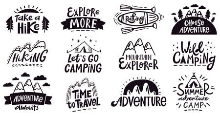 Adventure quote lettering. Outdoor camping mountains emblem, hiking expedition badges, nature travel vector illustration set. Expedition logo and emblem poster, silhouette vacation and exploration