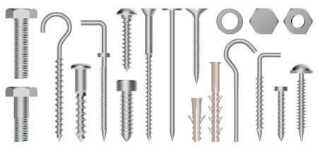 Realistic 3d screws and bolts. Hardware stainless screws, bolts, screw, nuts and eye hooks, metal fixation gear isolated vector illustration set. Construction fasteners, hex cap nuts and twinfasts
