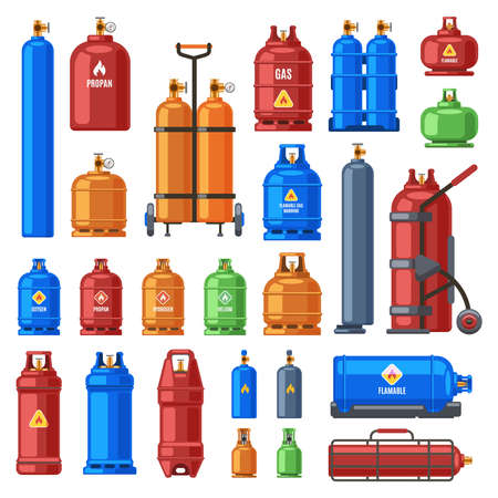 Gas cylinders. Propane, oxygen and butane metal containers, cylindrical helium tank, fuel storage gas bottle vector illustration icons set. Compressed gases with high pressure in equipment Ilustración de vector