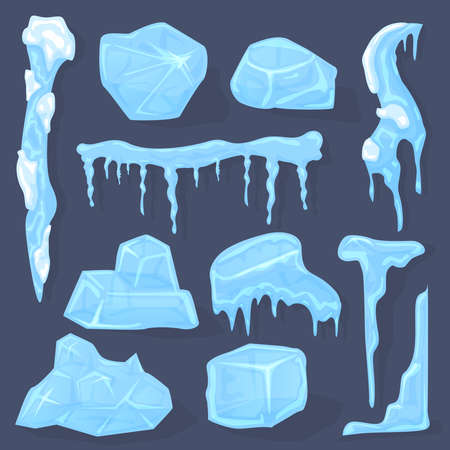 Winter icicles. Snow ice cap, frosted crystal cube white icicles sign, ice caps, piece and crystal block isolated vector illustration symbols set. Cold frozen water elements for decor