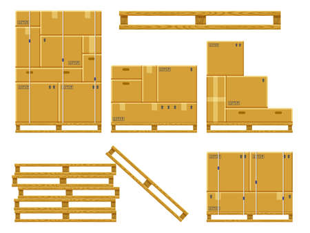 Cargo box stack. Carton delivery packaging boxes on wooden pallet, stacked cardboard package, warehouse storage boxes pile vector illustration set. Parcel in post service, company storage Ilustración de vector