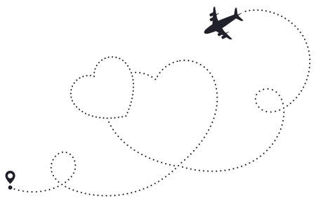 Love airplane route. Heart dotted route, airline destination map, romantic plane routes line, hearted traveling pathway vector illustration. Starting point love trace of flying aircraft