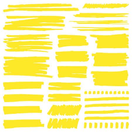 Yellow marker stroke. Highlight marker stroke lines, bright permanent marker sketch, doodle highlight marker lines vector illustration signs set. Scratch bright brushes, dotted line