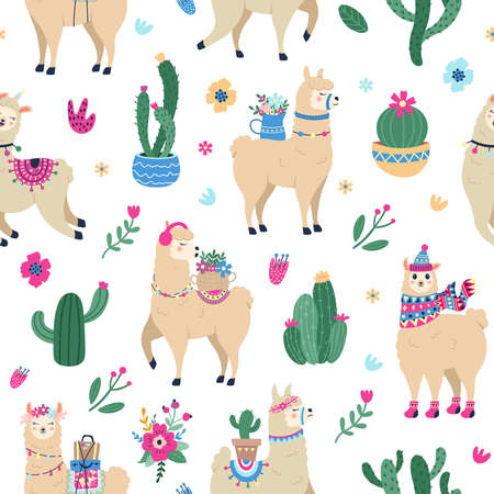 Llama and cactus pattern. Cute seamless hand drawn mexican alpaca with desert cactuses, peruvian ethnic vector background illustration. Animal characters with luggage, flowers on back 向量圖像