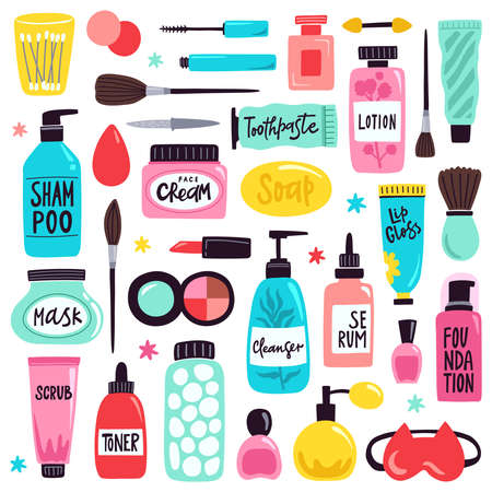 Makeup skincare elements. Cosmetics products, doodle visage tools, lipstick, cream, hand drawn skincare cosmetic bottles vector illustration set. Containers with shampoo, mask, toothpaste, cleanser