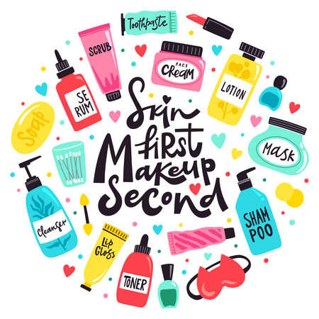 Doodle cosmetics tools. Make up, skin care beauty products, toner, lotion, lipstick and serum, makeup concept vector background illustration. Skin first makeup second. Bottles and accessories