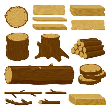 Wood trunks. Tree lumber, wood logs, logging twigs and wooden planks, stacked firewood material isolated vector illustration icons set. Wood elements for production industry, timber for fire