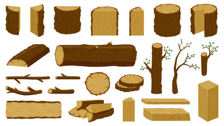 Wooden timbers. Tree trunk, woodwork planks and logging twigs, lumber industry chopped firewood material isolated vector illustration icons set. Oak or pine lumber and woodpile for industry Illustration