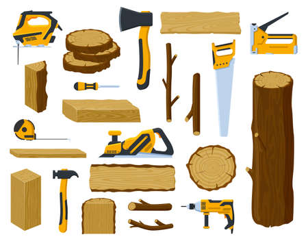 Woodwork tools. Lumber industry wood material tree trunk, planks, stacked firewood and ax, circular saw, hammer vector illustration symbols set. Objects for wood production, timber and equipment Illustration